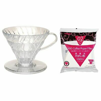 NEW HARIO V60 02 DRIPPER 100 FILTER PAPER Plastic Coffee Cup Pour Over Brewer