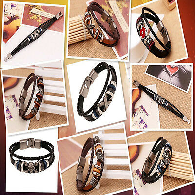 Fashion Men Girls Beaded Wristband Metal Studded Punk Leather Bracelet Cool