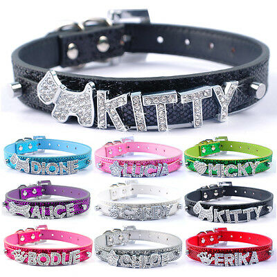 Personalized Bling Leather Puppy Dog Collar Customized Free Name&Charm