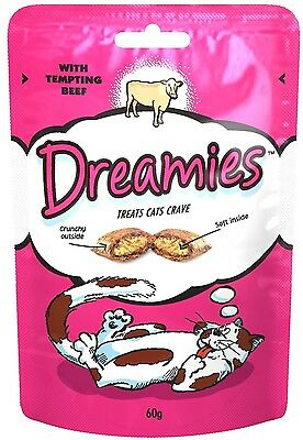 Dreamies Tempting Beef - 60g - 30 plus servings - Delicious soft centre