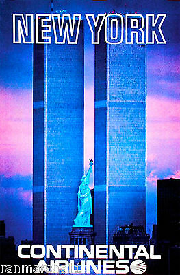 Statue Liberty Twin Towers New York United States Travel Advertisement Poster