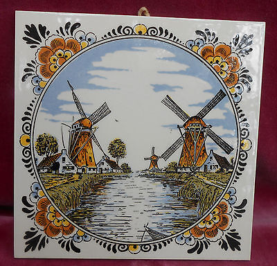 Delft Holland Windmills Ceramic Tile Multi Colored Hand Painted Vintage