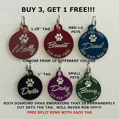 Custom Engraved Circle Paw Print Pet Tag Dog Cat ID Name Animal - 10 COLORS