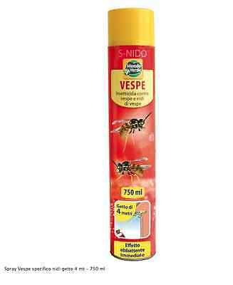 Insetticida Spray Vespe E Calabroni Antivespe Nidi Alveari Getto 4 Metri Ml 750
