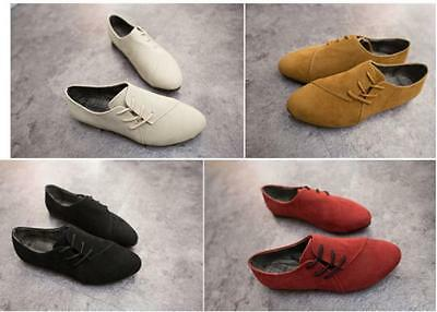 Womens Nubuck Leather Flat Pumps Ladies Lace Up Loafers Casual Shoes Size 3.5-6