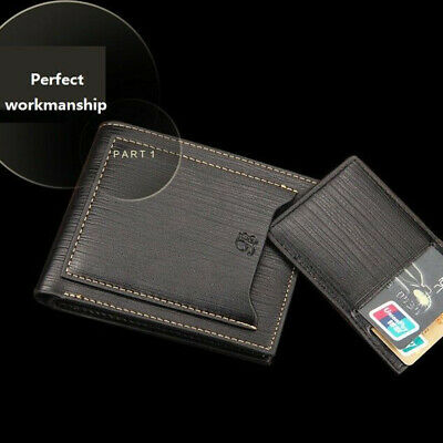 New Men's Leather Bifold Wallet ID Card  Clutch Bifold Slim Purse Money Clip