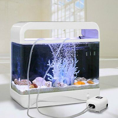 Aquarium Air Pump Oxygen Pond Marine Water Fish Tank 2 Outlet 5M Tube Air Stones