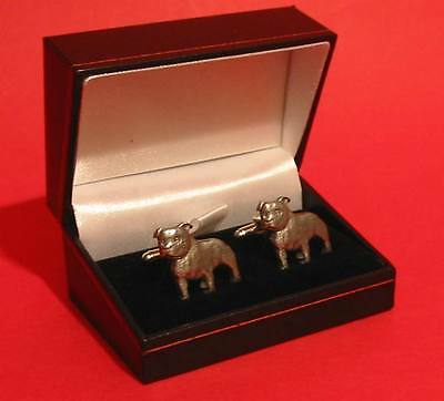 Staffordshire Bull Terrier Dog Pewter Cufflinks Father's Day Xmas Staffie Gift