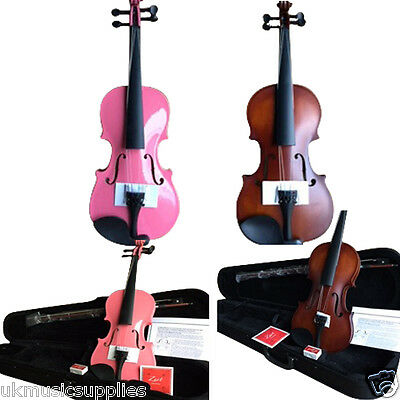 Back to School Zest Violin's in Pink & Antique Satin wood in 4 sizes LOW COST