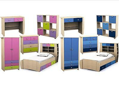 Childrens Pink or Blue Bedroom Furniture - Bed,Wardrobe,Chest,Desk Sydney Range