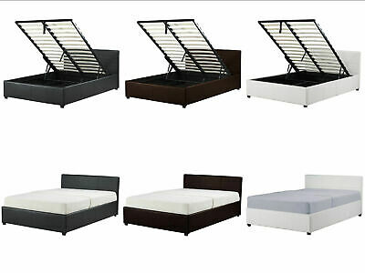 New Ottoman Storage Bed - Black Brown White -Single, Double, King - Faux Leather