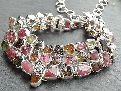 "Handmade Tourmaline 925 Sterling Silver Necklace, 14"" - 17"" Long"