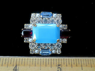 Magnificent Czech Vintage Sty Rhinestone Glass Button Crystal&Blue&Red   B99
