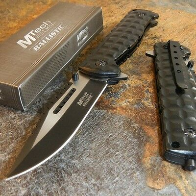 """9"""" M-TECH Tactical Combat SPRING ASSISTED OPEN Black Folding POCKET KNIFE New"""