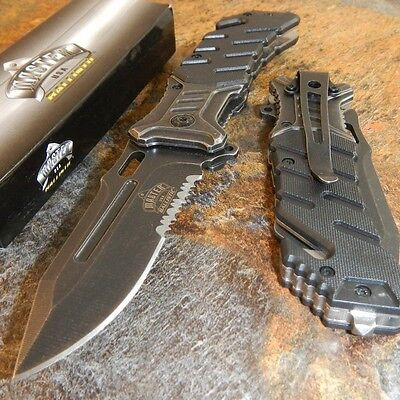 Master Stone Wash Tactical Rescue Belt Cutter Spring Assisted Pocket Knife NEW