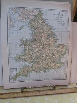 Vintage Print,ENGLAND+WALES,Map,Dodd Mead,1907