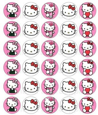 30 x Hello Kitty Edible Cupcake Toppers