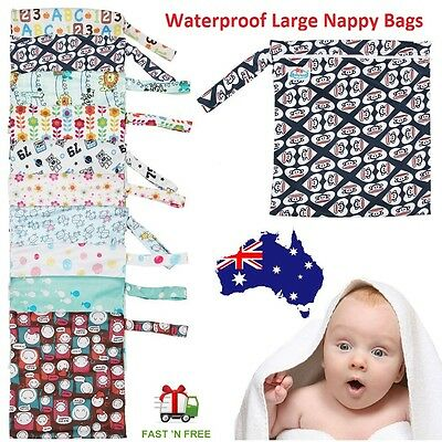 Waterproof Zipper Wet Dry Bag Baby Cloth Diaper Nappy Bag Washable Reusable -L