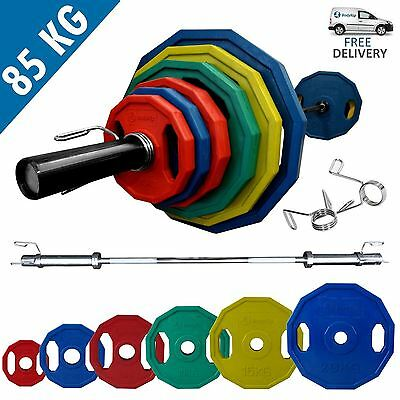BodyRip POLYGONAL COLOURED OLYMPIC WEIGHT SET OF 85KG INCLUDING BARBELL COLLARS