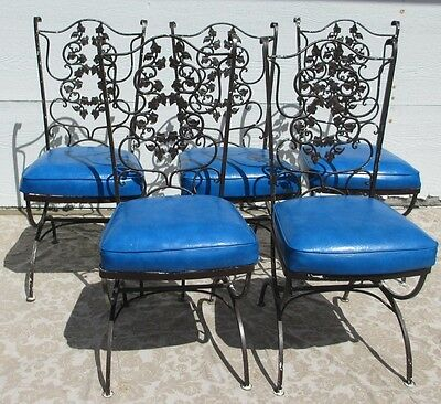 Vintage Mid Century Modern Patio Wrought Iron Chairs with Cushions