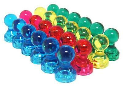 Small Assorted Color Translucent Magnetic Push Pins (24 Pack)