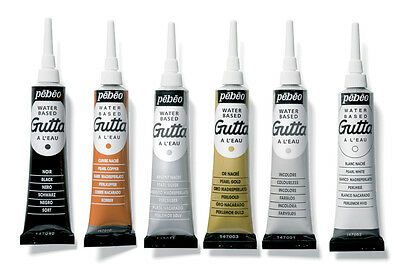 Pebeo Setasilk Gutta Water Based Relief Outliner 20ml Tube for Fabric Painting