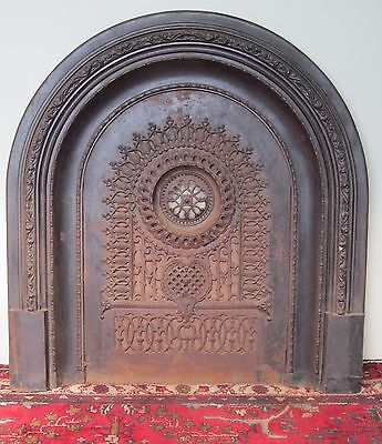 19Th Century Cast Iron Fire Back With Complete Frame System & Ornate Motifs