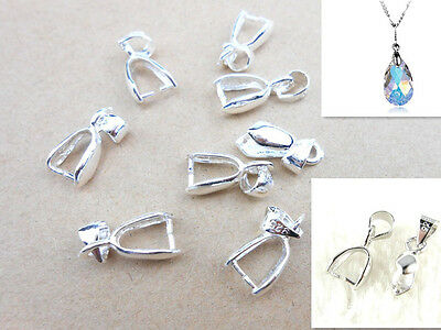 10PC Size S 925 Sterling Silver Findings Bail Connector Bale Pinch Clasp Pendant