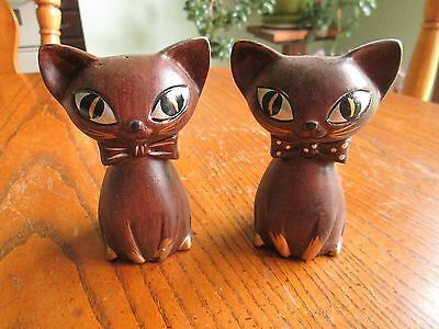 Vintage Tilso 50's Siamese Cats Big Eyes Brown Cat Salt and Pepper Shakers Set