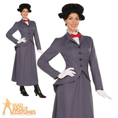 Adult Victorian Nanny Costume Ladies Mary Book Week Day Fancy Dress Outfit New