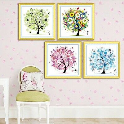 Cross Stitch Kit Colorful Tree Counted Four Season DIY Home Decor Embroidery Set