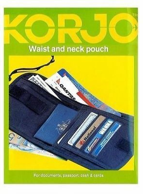 Korjo Travel Waist &Neck Pouch Zip Money Passport ID Document Holder Wallet Bag