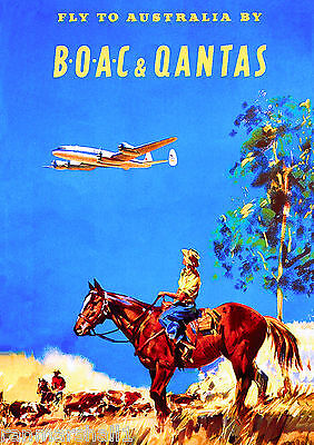 The Outback Cowboys Airplane Australia Australian Travel Advertisement Poster