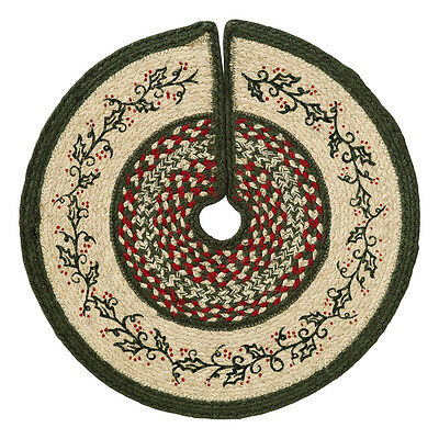 "HOLLY BERRY Braided Jute 21"" Christmas Tree Skirt Red Green Cream"