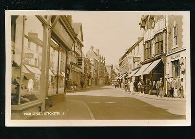 Staffordshire Staffs UTTOXETER High St c1950/60s? RP PPC pub A W Bourne crease
