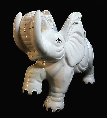 "Glazed Hand Painted Ceramic Elephant Figurine From Japan 12"" Long"