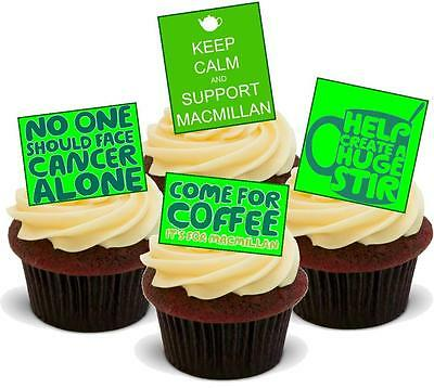 NOVELTY Macmillan Coffee Morning Mix A STAND UP Icing Edible Cake Toppers Big