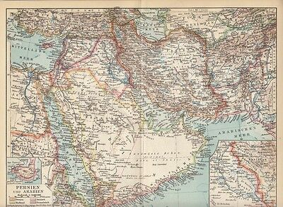 1928 Persien und Arabien Original Alte Landkarte Karte Antique Map Persia Arabia