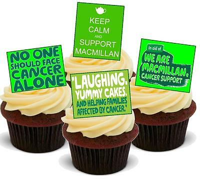 NOVELTY Macmillan Coffee Morning Mix B STAND UP Icing Edible Cake Toppers Big