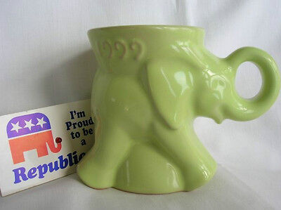 1999 Lime Green Frankoma Republican Elephant Mug