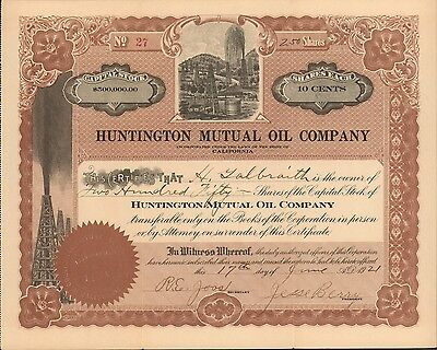 {BJSTAMPS} Huntington Mutual Oil Company CA State Stock Certificate 1921 oilwell