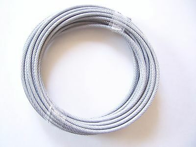 """Clear Vinyl Coated Wire Rope Cable, 3/16"""" - 1/4"""", 7x19, 50 ft"""