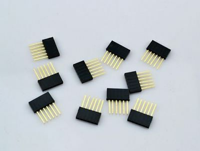 100pcs 6Pin 2.54 Female Stackable Tall Pin Header Connector Socket for Arduino