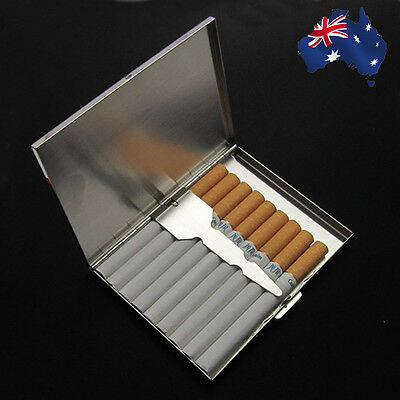 Silver Single Sided Cigarette Case Holds 9 Cigarettes Holer Box Cigar TCIBO 9991