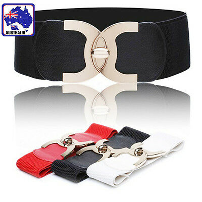 Women Girl Adjustable Stretch Belt Buckle PU Elastic Waist Band Cinch CBELT 75
