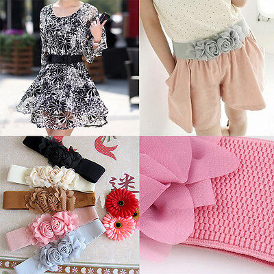 New Vintage Women Girl Double Rose Flower Buckle Elastic Wide Waist Corset Belt