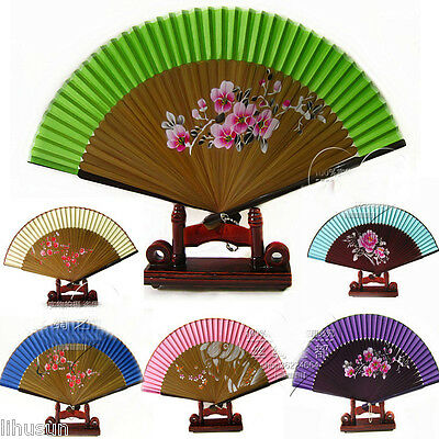Wholesale6pcs Chinese Handmade Hand Paint Floral Classic Silk Folding Bamboo Fan