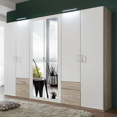 kleiderschrank freiburg schlafzimmer wei eiche s gerau mit spiegel b 270 cm eur 368 00. Black Bedroom Furniture Sets. Home Design Ideas