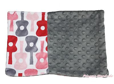 Baby Infant Newborn Music Guitar Gray Minky Dots Spotted Pillow Cover Pillowcase