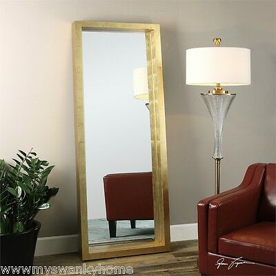 Classic Contemporary Gold Full Length Wall Mirror   Floor Leaner